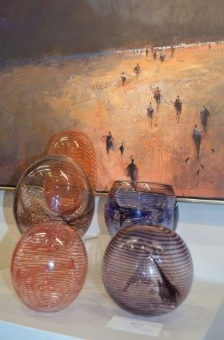 Painting by Mel Brigg, Glass art by Keith Rowe. Red Hill Gallery, Brisbane. redhillgallery.com.au