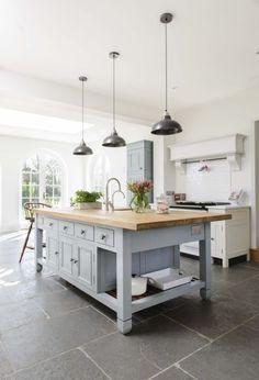 Miranda Gore Browne's Chalon Kitchen with our Worn Grey Limestone flooring (http://www.floorsofstone.com/our-tile-range/limestone/worn-grey-limestone-tiles.html)