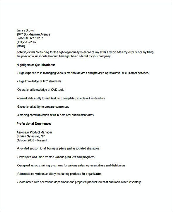 Associate Product Manager Resume  Resume For Manager Position