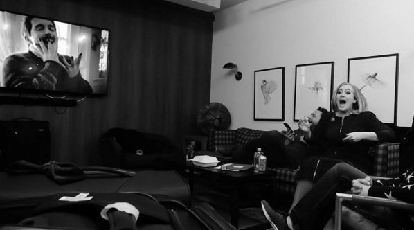 """So, on Sunday, she uploaded this picture of her watching the skit. 