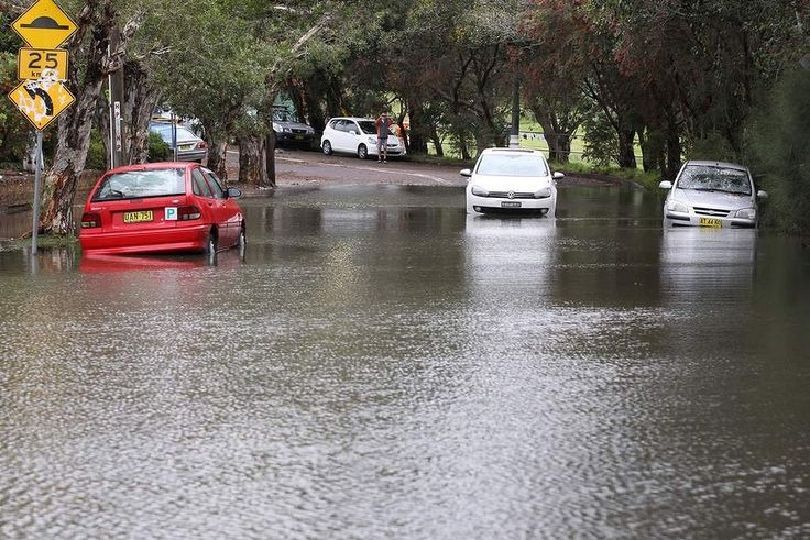 Wild weather hits Sydney. Flooding in Riverside Crescent Marrickville.