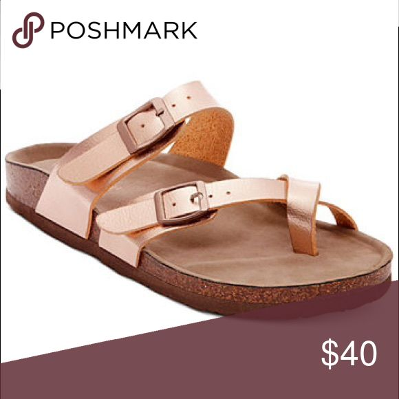 """Rose Gold Birkenstock (Madden Girl) BRAND NEW! Never worn :) gorgeous. Cutest style """"Bryce"""" with the toe strap Birkenstock Shoes Sandals"""