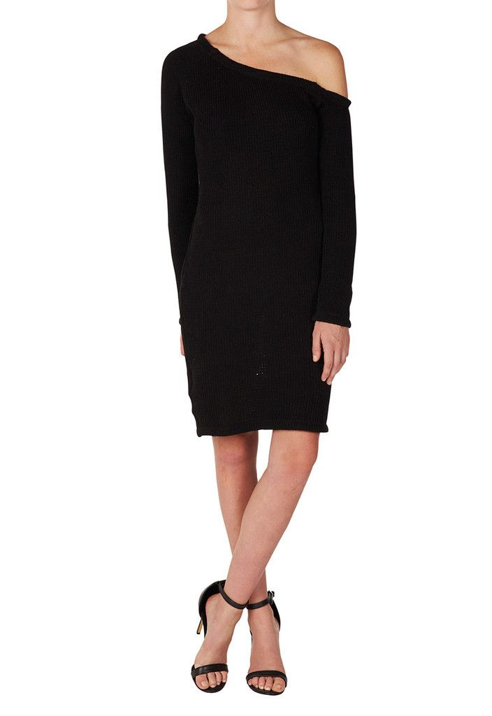 THIRD FORM - Roll Shoulder Knit Dress In Black