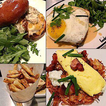 Photo of Bonhomie - Austin, TX, United States. Cheeseburger, fries, croque monsieur with egg option, pommes rösti with bacon & soft scramble.