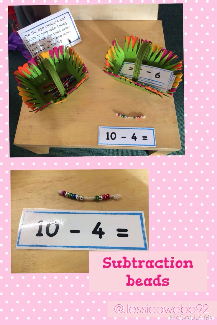 Subtraction beads. Take away the correct number of beads to find the answer to the subtraction number sentence.