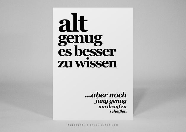 "Postkarte ""alt genug"" zum Geburtstag / birthday typo card, fun words by heyhey postcardshop via DaWanda.com"
