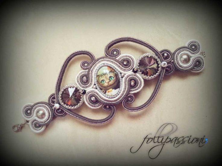 Follipassioni: bracciale soutache, soutache filincanto, filincanto shabby, soutache, soutache jewelry, soutache bracelet, handmade italy, handmade follipassioni, follipassioni, stregatto, alice in wonderland