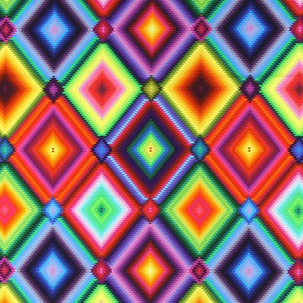 Ikat colorido - mezcla de colores - Telas de decoración impresión digital - El mundo de los bolsos - Telas - Más telas infantiles - Explosión de color - telas.es
