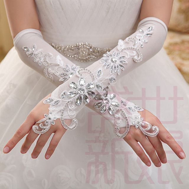 2014 New Coming Gorgeous Elegant White Fingerless Long Wedding Gloves Formal Gloves Women Sparkle Crystal Beaded Bridal Gloves