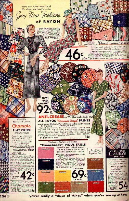 1930s vintage fabric designs ( Wish it listed exact year). I like to see the fabric style/color/prints.