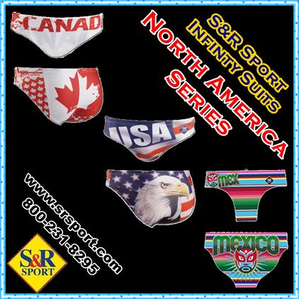 The North America Series of #Infinity #Suits by #SRSport, featuring Canada, United States, and Mexico.  Perfect for #Swimming, #WaterPolo, #Triathlon, #Synchro, #Diving.  http://www.srsport.com/index.php/cPath/1001_1010_1009 800-231-8295