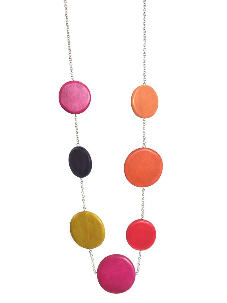 Anita - long length necklace with large discs on chain by One Button #pink #multi #bigboldbright #necklace #accessories #onebutton Click to buy from the One Button shop.