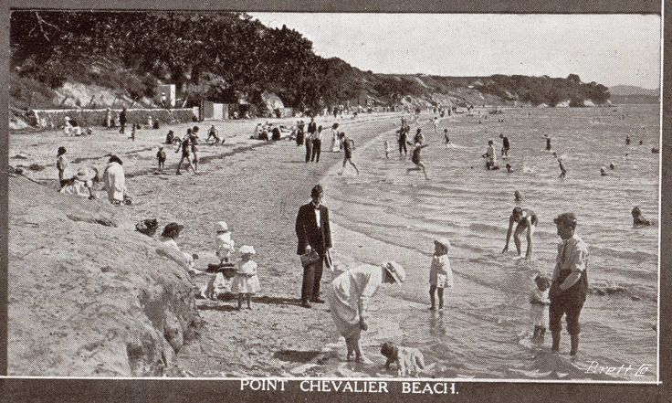 "Point Chevalier Beach, Auckland. From the booklet ""Auckland. 51 Artistic Views"". Published by Frank Duncan & Co., Auckland, New Zealand."