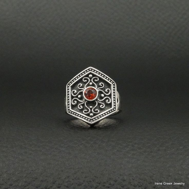 NATURAL GARNET BYZANTINE STYLE 925 STERLING SILVER GREEK HANDMADE ART RING #IreneGreekJewelry #Cocktail