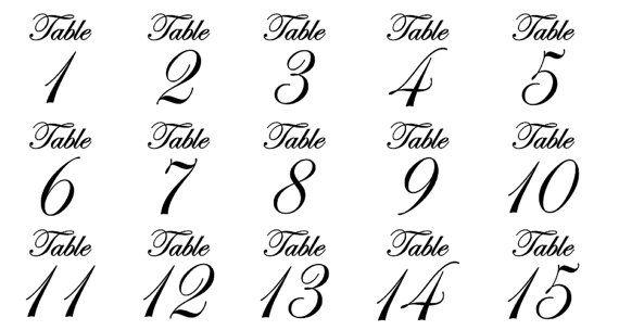 Wedding Table Numbers Fancy Script Font Vinyl Table Fancy Script Font Fancy Numbers Fonts Tattoo Lettering Fonts