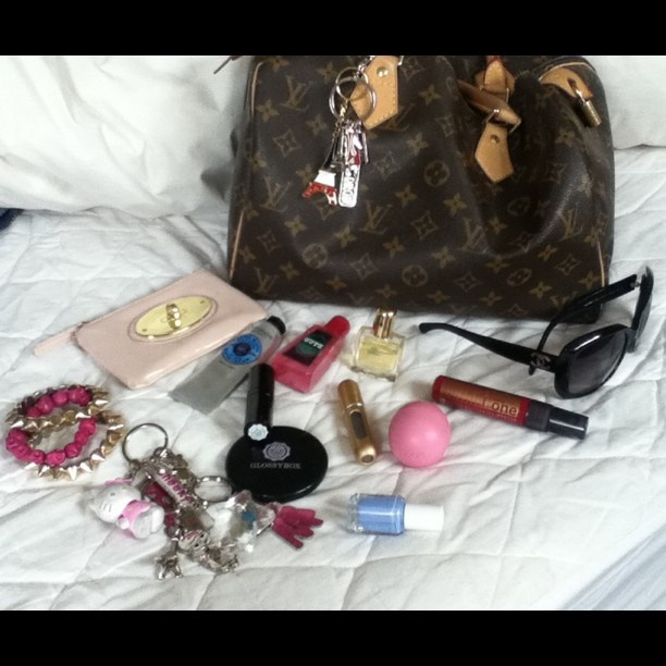 "@Marguerite Ormeño Morales's photo: ""What's in my bag ;-) @Glossybox Brasil Brasil UK #myglossyhandbag"""