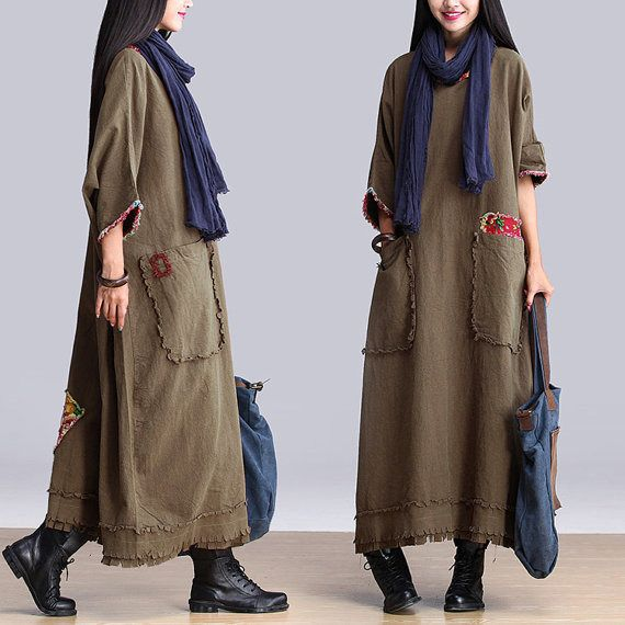 Khaki green stitching bat sleeve round neck dress / loose national wind Robe : Robe par exceptionid