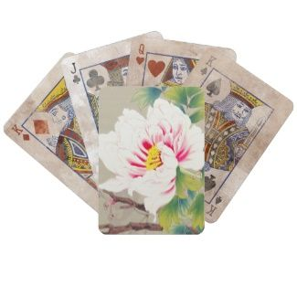 Zuigetsu Ikeda Pink Camellia japanese flower art Poker Cards