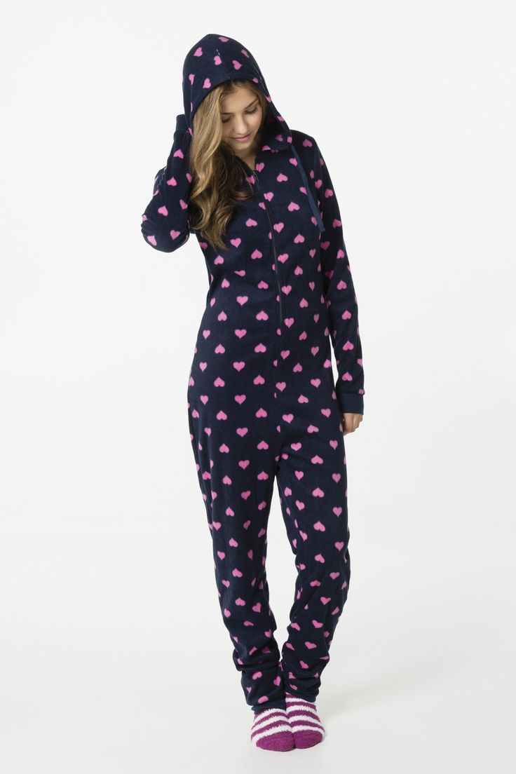 Navy fleece onesie with hearts - Halloween | Ardene Official Online Store