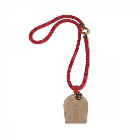 Lacrom Store || Gattabuia, jewellery, necklace  Necklace made with rope and with a leather pendant. Snap-hook closure, nickel free in light gold. Comes with cotton dust bag with stripes.