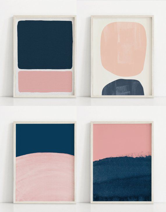 Abstract Pink and Blue Print. Dark Blue and Pink Art Print. Modern Art Prints. Abstract Wall Art. Navy and Pink Painting. Abstract Paintings