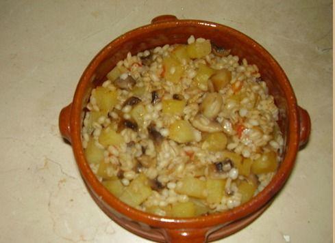 Timballino di orzo, funghi e patate
