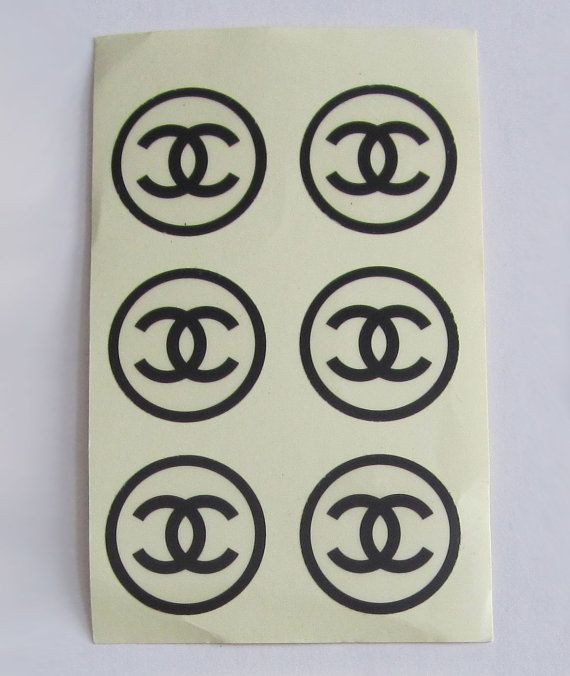 Authentic chanel black logo sticker by sweeeties