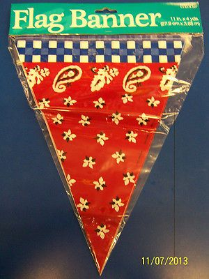Banjo Cowboy Bandanna Country Western Theme Party Decoration Pennant Flag Banner