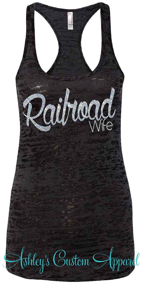 Railroad Wife. Black Burnout Razorback Tank Top - Silver GLITTER. Rail Wife. Railroader
