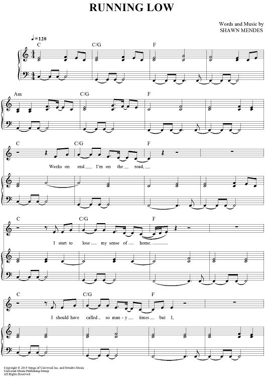 """""""Running Low"""" Sheet Music by Shawn Mendes from OnlineSheetMusic.com"""