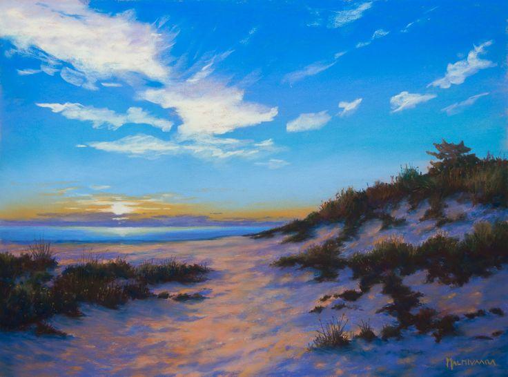 Sand Dunes at Kalajoki, soft pastel painting on Pastelmat 30 x 40 cm, by Olli Malmivaara