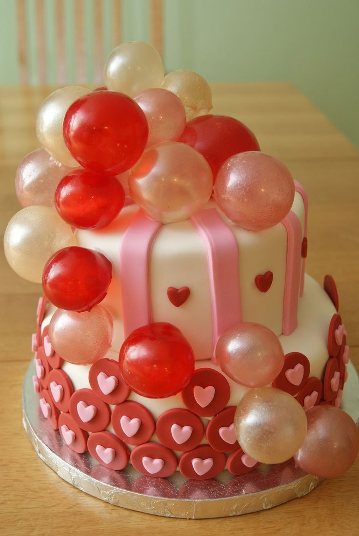 My Valentine To Myself :) My valentines cake. Red velvet top tier and pina colada bottom tier. This was my first experience with gelatin...