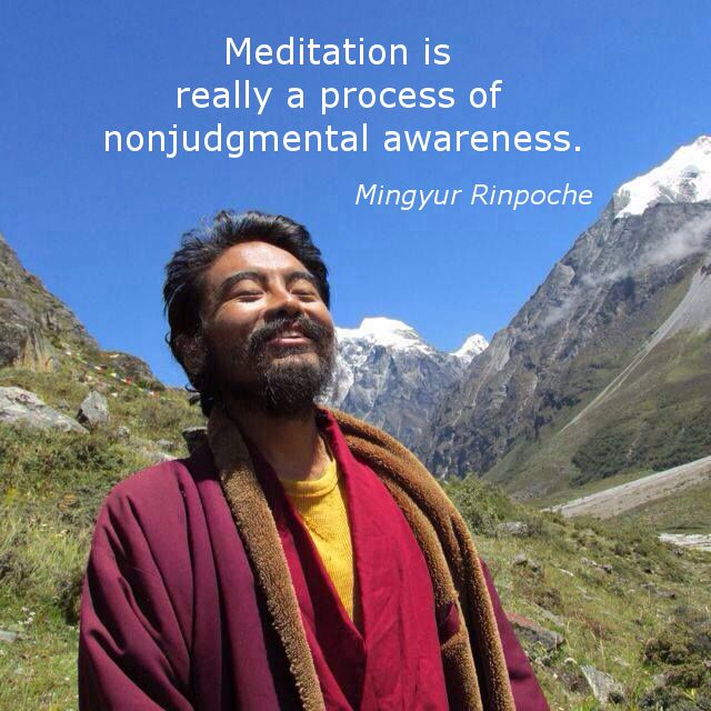 """A process of nonjudgemental awareness ~ Mingyur Rinpoche http://justdharma.com/s/7kvlc  Meditation is a process of nonjudgemental awareness.  – Mingyur Rinpoche  from the book """"The Joy of Living: Unlocking the Secret and Science of Happiness"""" ISBN: 978-0307347312  -  https://www.amazon.com/gp/product/0307347311/ref=as_li_tf_tl?ie=UTF8&camp=1789&creative=9325&creativeASIN=0307347311&linkCode=as2&tag=jusdhaquo-20"""