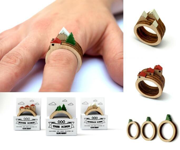 3つセットでつけるとかわいい山と木と家の指輪  (via http://www.etsy.com/shop/CliveRoddy)