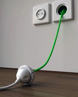Install an Extension Cord inside the wall. A household necessity!!! Seriously genius!