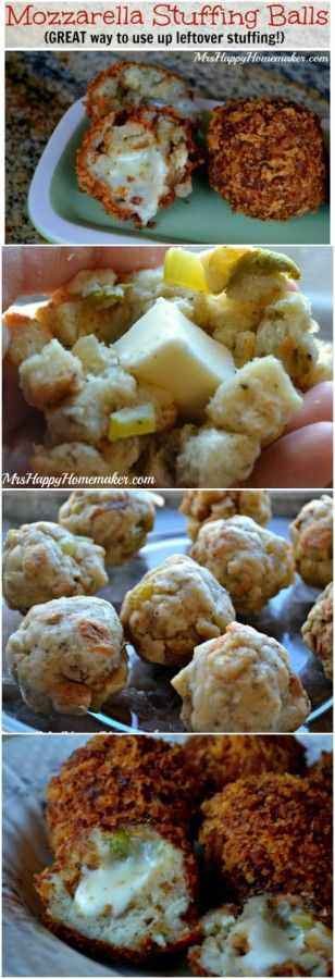 GO AHEAD & PLAN FOR THIS NOW!! Got leftover stuffing? Then you need to stuff it with cheese & make these AMAZING Mozzarella Stuffing Balls!! You will want to make stuffing all the time just so you can make these cheesy little masterpieces!! | MrsHappyHomemaker.com @thathousewife