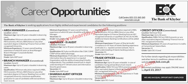 #  Title  Details  1  Jobs Location  Pakistan  2  Government / Private  Private  3  FPSC / PPSC / NTS / Others  Others  4  Published Date  09 Apr 2017 Sunday  5  Last Date to Apply  23 Apr 2017 Sunday  6  Newspaper Name  Dawn  Bank of Khyber BOK Jobs 2017 in Peshawar Karachi Lahore & Rahimyar Khan Latest  Vacancies / Positions:-  Area Manager  Branch Manager  Manager IS Audit  Shariah Audit Officer  Trade Officer  Credit Officer  Locations: Lahore Karachi Peshawar Rahimyar Khan  Apply Online…