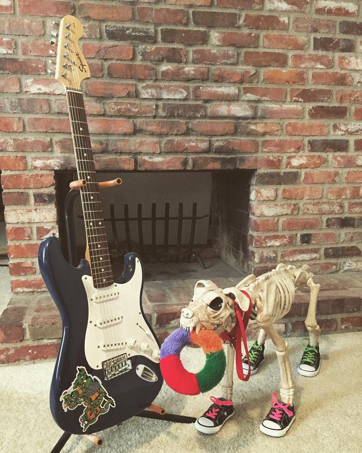 Guitar 1: Fender - Squier - Stratocaster #pophorror #poppunk #goth # punk #punkrock #fender #squier #strat #stratocaster #guitar #electricguitar #powerchord #horror #horrornerd #halloween #dog #skeleton #zombie #monster #practicaleffects #woof #beyourself #tmnt #converse