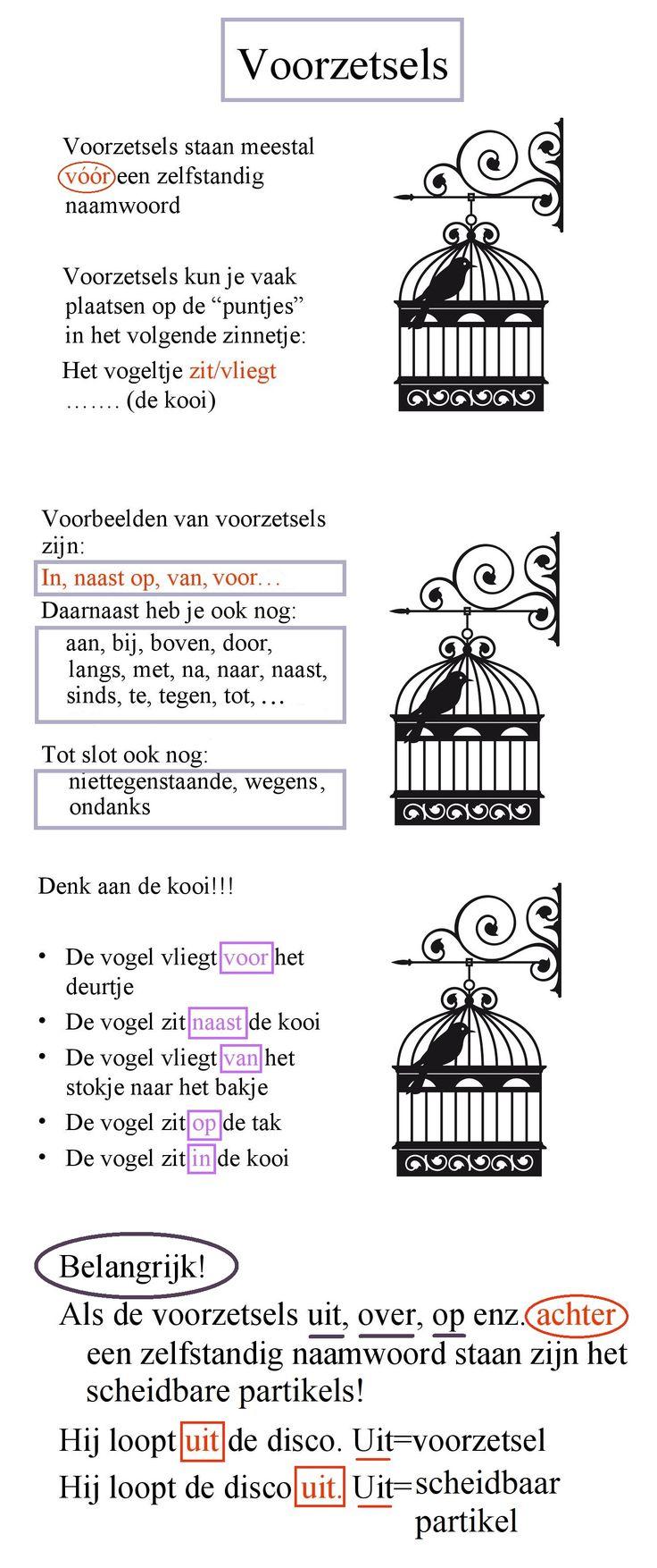 Voorzetsels (het vogeltje zit in de kooi) / http://slideplayer.nl/slide/2224978/