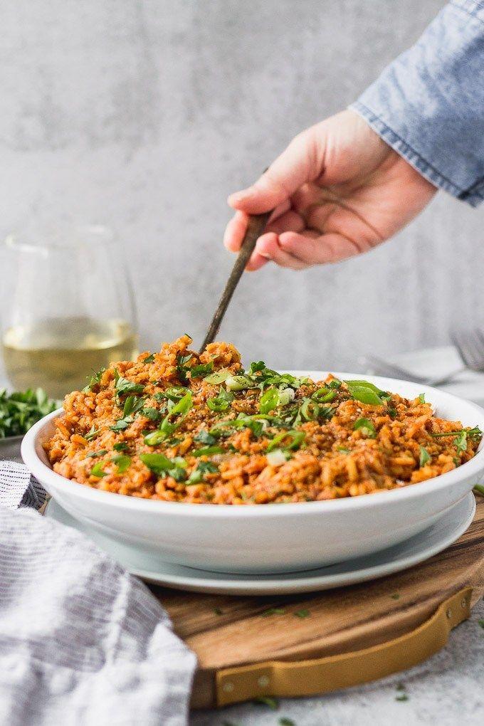 Vegetarian Jollof Rice Vegan Too Fork In The Kitchen Recipe Jollof Rice Side Dish Recipes Vegetarian