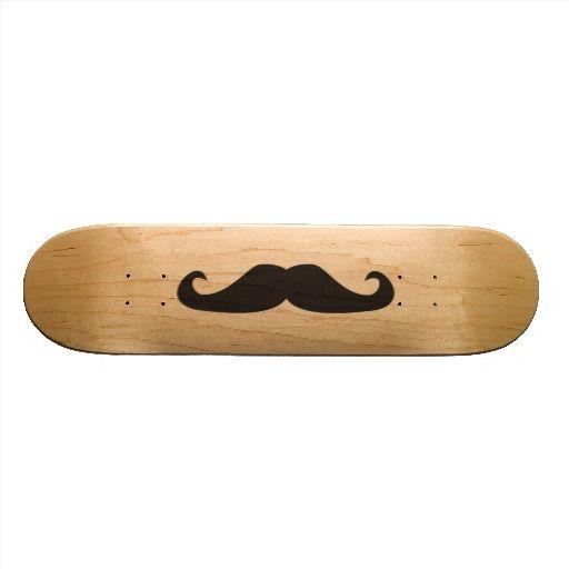 Retro gentelman mustaches illustration custom skateboard