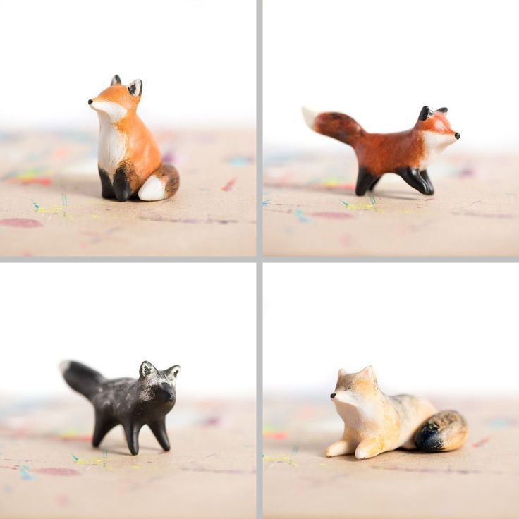 """Le Tricksy Red Fox totems - polymer clay, about 1.5"""" tall, handmade by Laura Johnston"""