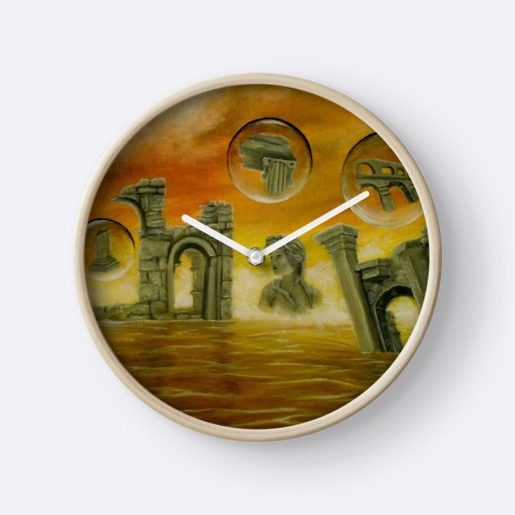 Interior Decor, Inspiration, ideas, items, for sale, colorful, orange, golden, ancient, ruins, temples, sea, sunset, sky, fantasy, unique, impressive, cool, artistic, Wall Clock