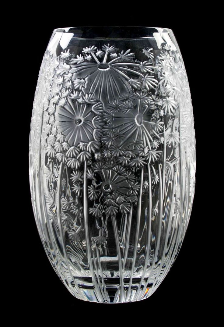 A Lalique Molded and Frosted Glass Vase, Height 13