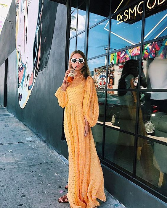 Yellow and orange maxi dress with billowy sleeves for spring fashion | Girlfriend is Better