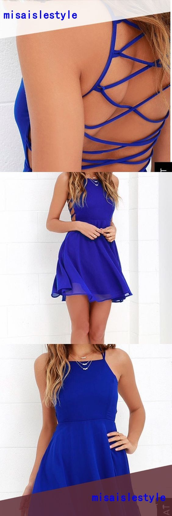 Sexy Above Knee length Open Back Royal Blue Homecoming Dress