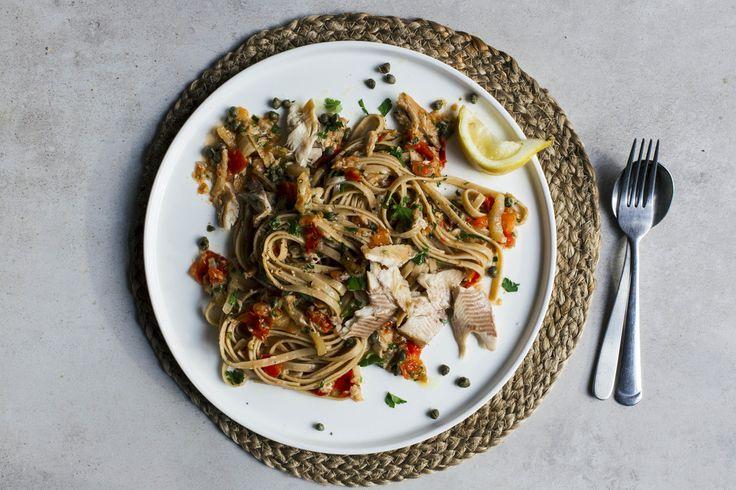 Photo for the dish: Volkoren pasta met forel en kruidige venkel-tomatensaus