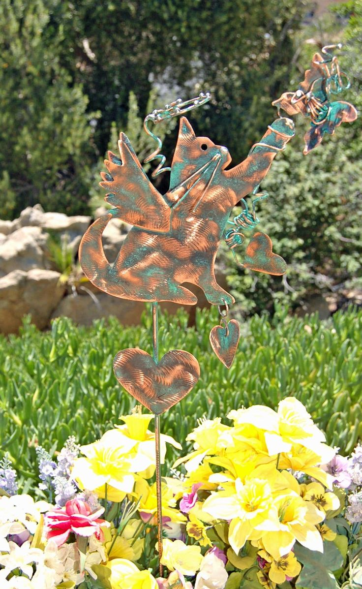 SOLD Cat Metal Copper Garden Yard Art Stake / Outdoor