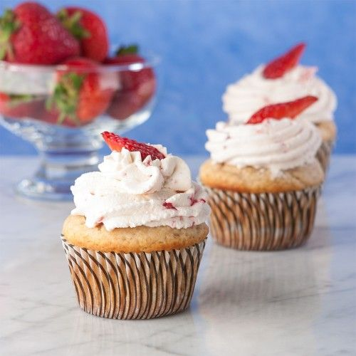 Strawberry Shortcake Cupcakes, gluten free. Berries, cake and whipped cream, all-in-one dessert.