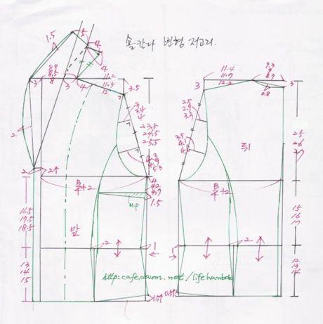 숄칼라 변형 생활한복 저고리 패턴 - 여자생활한복패턴 - 맨드리생활한복